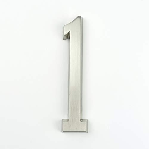 Adhesiva 4' 101mm Altura Casa Número Etiqueta con el número de la Puerta de casa Dígitos de aleación de Zinc níquel Satinado Buzón sesión Dirección # 0-9 (Color : 1)