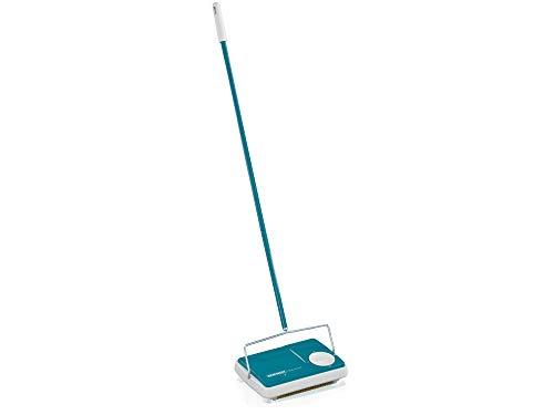 Leifheit Teppichkehrer Regulus Türkis für die schnelle Reinigung, Teppichreinigung verschiedener Teppiche, Teppichkehrer ohne Strom mit 3 Kehrbürsten