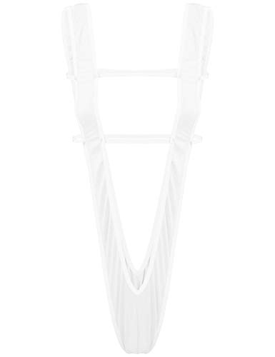 TiaoBug Damen V String Body Monokini Bademode Tiefer Ausschnitt Brustfrei Dessous Sexy Lingerie Cut-Outs Reizwäsche Gogo Outfits Clubwear Weiß One Size