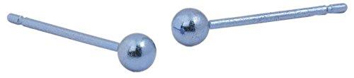 Ti2 Titanium Womens 3mm Round Bead Stud Earrings - Aqua Blue