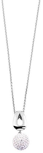 Akzent Damen Halskette aus Edelstahl, silberfarbig, Länge 45 cm / Stärke 1 mm mit Strass Kugel