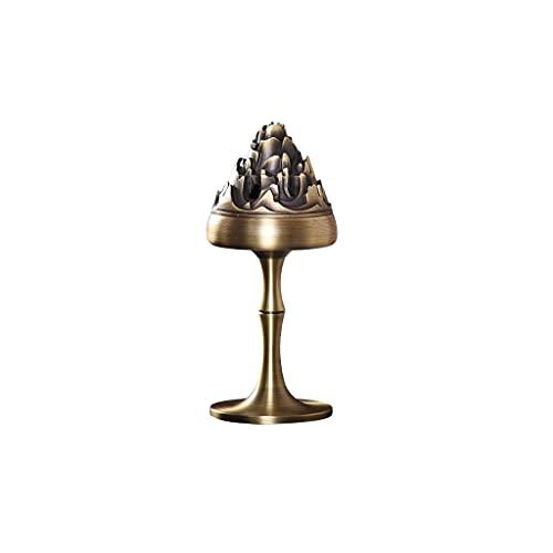 LYLY Quemador de incienso Boshan horno quemador de incienso reflujo quemador de incienso adornos de cobre regalos spa meditación yoga decoración oficina hogar (color: latón)