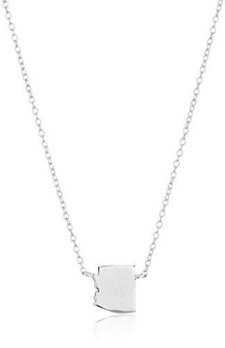 Collar de plata de ley con colgante de minicadena estatal, 40,64 cm + 5,08 cm extensor, Plateado