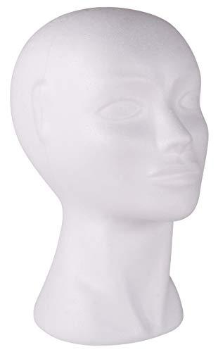 RAYHER Styropor-Kopf weiblich, Ständer für Perücken, Kopfhörer, Mützen & Co, Größe: 29cm