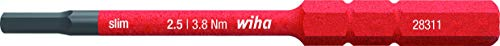 Wiha Bit slimBit electric Sechskant (37224) 2,5 x 75 mm für tiefliegende Schrauben, Allrounder für Elektriker
