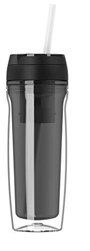 Botella de agua de alta calidad – Botella de agua – Taza térmica de 500 ml para café y té – Coffee to Go – Aislante para bebidas calientes y frías – batidos – infusor de té – pajitas de fruta – Negro