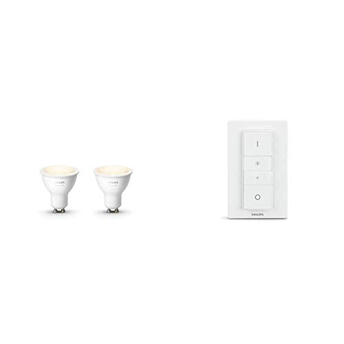 Philips Hue White GU10 LED Spot Doppelpack, dimmbar, warmweißes Licht,steuerbar via App, kompatibel mit Amazon Alexa & Philips Hue Wireless Dimming Schalter, komfortabel dimmen ohne Installation