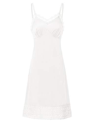 Belle Poque Fond de Robe Blanc en Col V pour Dormir Bien S BPE2041-3