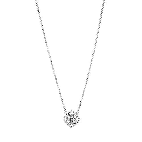 PANDORA, Collar de Rosa de Plata de Ley con circonitas 399370C01-45