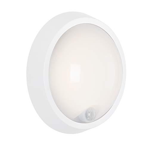 Briloner Leuchten LED, lámpara de Pared para Exterior con Sensor de Movimiento y Detector crepuscular, 12 W, 1.150 lúmenes, 4.000 Kelvin, Blanca, Redonda, Ø 17 cm, Blanco, 3352 - 016