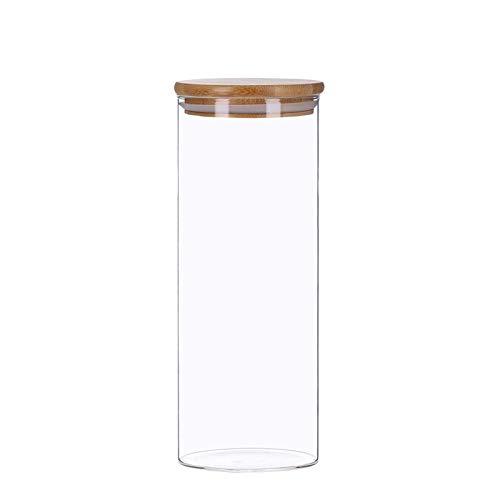 Vorratsdosen aus Glas mit Bambusdeckel, Vorratsgläser, Glasbehälter | 350 ml - 2200 ml | luftdicht, Spülmaschinenfest, Mottensicher (1800 ml)