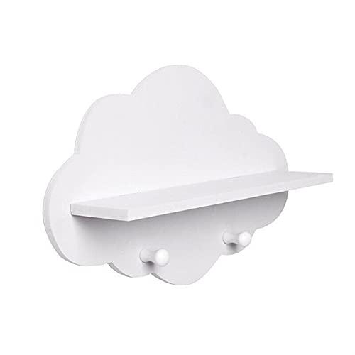KENSG Caja de Almacenamiento de Madera Creativa en Forma de Nubes Rack de Almacenamiento de estantes flotantes de Gancho de Pared (Color : White)