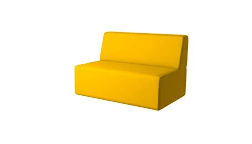 PanQube module 11-I-D-YE TORINO 90 sofa voor kinderen zonder MINI armleuningen en borduurwerk, geel, 90cm x 60cm x 30cm