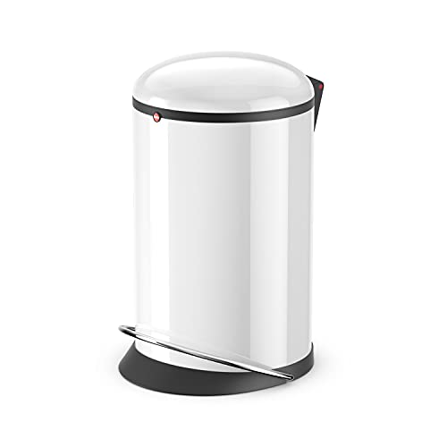 Hailo Harmony M Mülleimer | 12 Liter | Soft Close Deckel Absenkautomatik | Stahlblech | breite Metall-Fußreling | Müllbeutel-Klemmringsystem | Tragegriff | Mülleimer rund | Made in DE | weiß