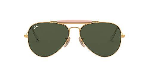 Ray-Ban Unisex Outdoorsman II Sonnenbrille, Gold (Gestell: Gold, Gläser: Grün Klassisch L2112), X-Large (Herstellergröße: 62)