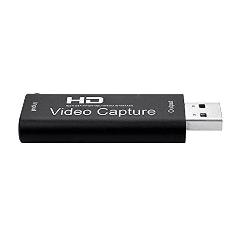 Joliy USB 2.0 1080P Video Mini Tarjeta de Captura Compatible con HDMI Video Recorder Streaming Adaptador para PS4 Live Streaming Video Recording - Negro 1 TAMAÑO