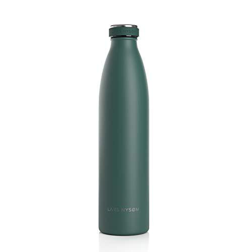 LARS NYSØM Edelstahl 1 Liter Trinkflasche | BPA-freie Isolierflasche 1000ml | Auslaufsichere Wasserflasche für Sport, Fahrrad, Hund, Baby, Kinder (Bayberry)