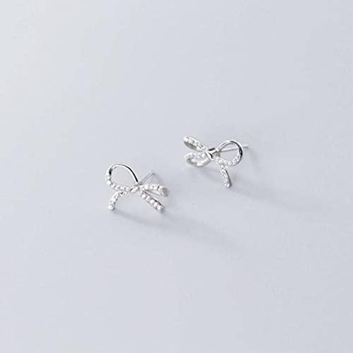 Good dress Pendientes de plata S925 con lazo de diamante para mujer, joyería de moda para el oído, par de plata S925