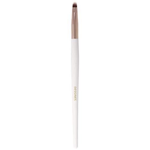 DESSINES Pinceau de maquillage professionnel synthétique - Pinceau pour fond de teint, poudre, yeux Kabuki de haute qualité (blanc/or) (Eyeliner TU785)