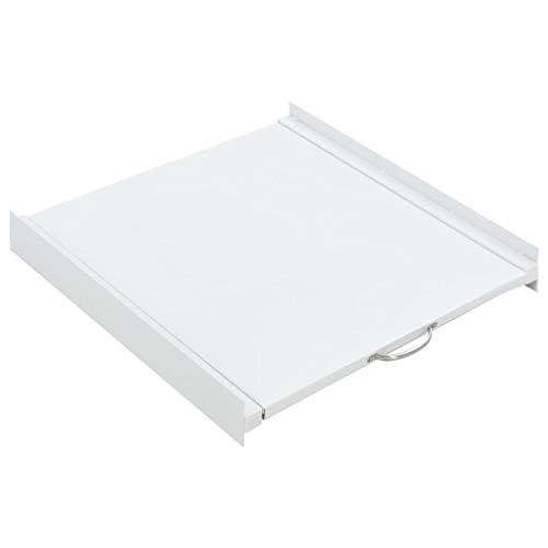 vidaXL Kit Apilado de Lavadora y Estante Corredizo Acero Blanco Mueble Colada