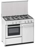 Meireles  - Cocina portabombona con 4 quemadores a gas y horno a gas preparada para gás butano/propano, 90x60cm, Blanco