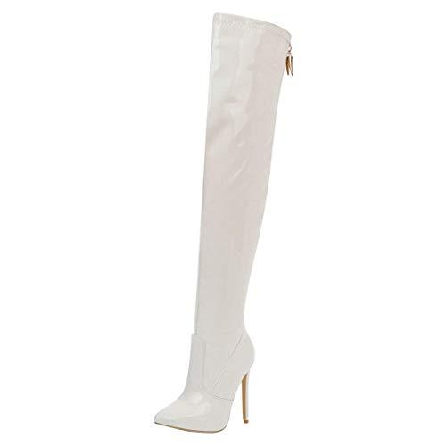 MISSUIT Damen Lack Overknee Stiefel Spitze High Heels Stiefel Stiletto Boots Reißverschluss Hinten 12cm Absatz(Weiß,39)