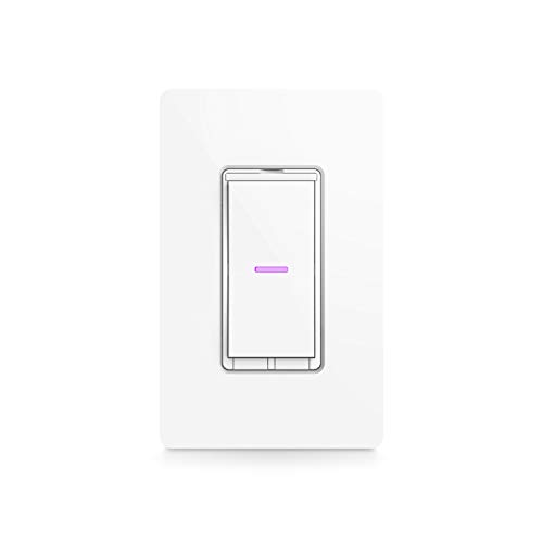 iDevices IDEV0008HW Wi-Fi Smart Wall Switch-Works with Alexa, Siri and The Google Assistant, White