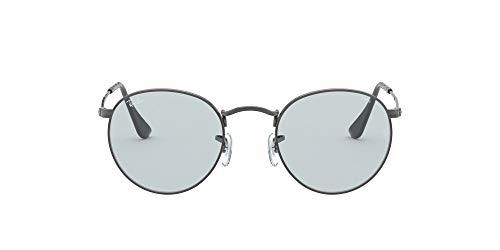 Ray-Ban Herren Round Metal Sonnenbrille, Ruthenium/Hellblau, 53