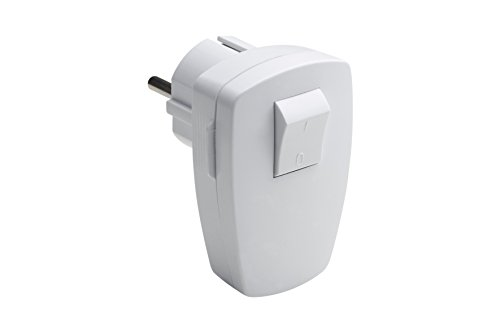 Meister Schutzkontakt-Stecker - weiß - 250 V - 16 A - Mit 2-poligem Schalter - Maximaler Kabelquerschnitt 1,5 mm² - IP20 Innenbereich - Seitliche Einführung / Winkelstecker mit Schalter / 7421210