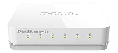 D-Link Ethernet Switch, 5 Port Unmanaged Gigabit Desktop Plug and Play Compact Design White (GO-SW-5G)