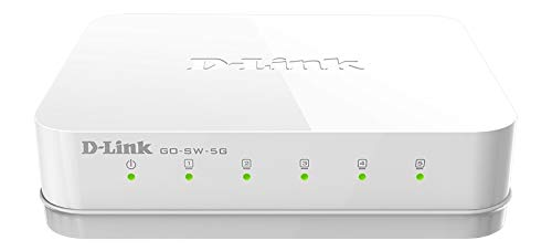 D-Link Ethernet Switch, 5 Port Unmanaged Gigabit Desktop Plug and Play Compact Design White (GO-SW-5G)