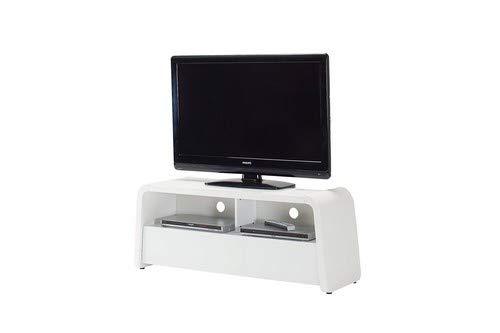 Jahnke TV Lowboard, E1 Spanplatte, lackiert, Sicherheitsglas, Metall, weissglas/matt-Weiss, 127 x 40 x 50 cm