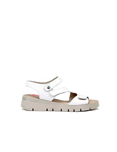 Fluchos   Sandalia de Mujer   TEXA F0833 Samun Blanco   Sandalia de Piel   Cierre con Velcro   Piso PU