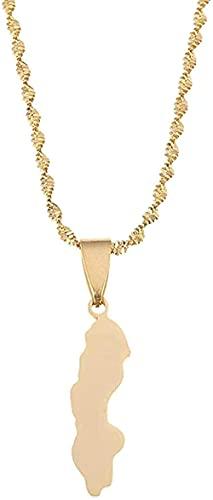 WYDSFWL Collar Mujer Hombre Moda Acero Inoxidable Color Dorado Construcción Marinero Mapa Colgante Collar Suecia Mapa Cadena Joyería Regalos