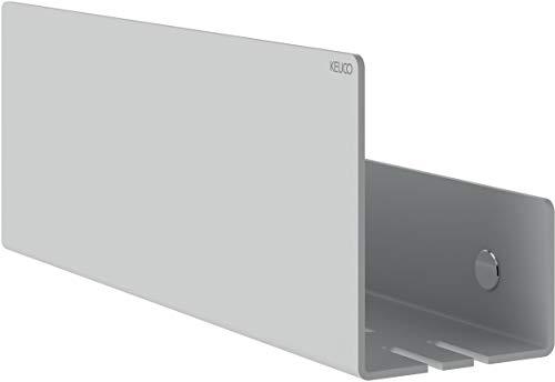 KEUCO Duschablage aus Aluminium, weiß, abnehmbarer Korb, Handtuchhaken und Ablaufschlitze, 32x9x12cm, Wandmontage in der Dusche, Duschregal