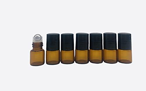 Nalunox-Botellas Ámbar para Aceites Esenciales de Vidrio- Roll On de Cristal Capacidad...