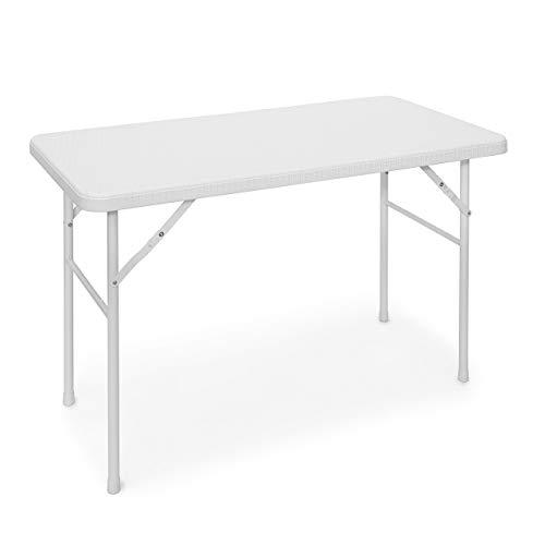 Relaxdays Tavolo da Esterno in Ottica Rattan Modello Bastian, Bianco, 61.5x122x74 cm