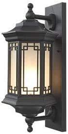 Lámpara De Pared Simple Y Fresca Aaedrag anti-óxido lámpara de pared retro pared luz E27 mate negro estilo chino al aire libre impermeable y iluminación de vidrio para lámpara de patio balcón pasillo