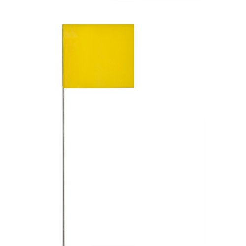 Swanson FY15100 2-Inch by 3-Inch Marking Flags with 15-Inch Wire Staffs, Yellow 100-Pack