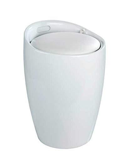 WENKO Wäschesammler, Wäschetruhe, Wäschekorb, Badhocker, abnehmbares Sitzkissen, Weiß, 20 Liter, 35 x 50 x 35cm