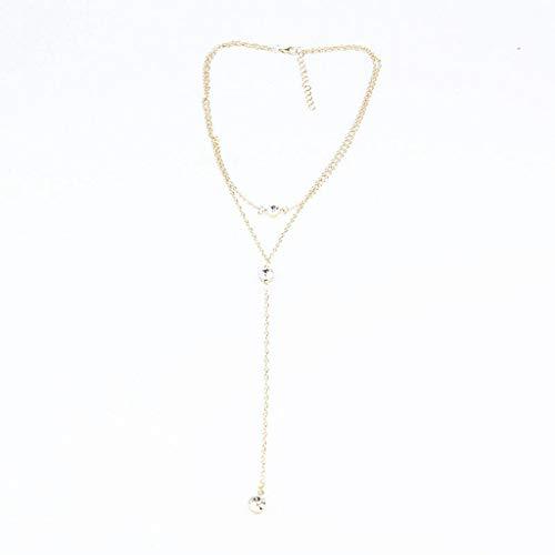 X Halskettex106 Mehrschichtige Halskette mit Langer Quastenkette Charming Women Gold r Körperschmuck Shiny Crystal Pendant Necklace