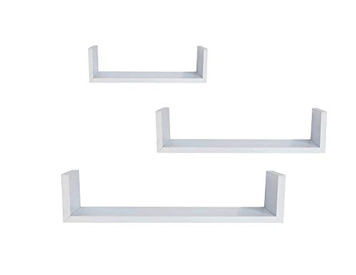 EWEI'S HomeWares WHC1004CD-WH 3 Floating U Shelves-White