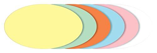 SIGEL MU102 Moderationskarten oval, 6 Farben sortiert (gelb, grün, orange, blau, rosa, weiß), 19x11 cm, 250 Stück