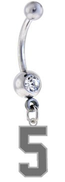 Number 5 Silver Plated Charm on Silver Belly Navel Ring