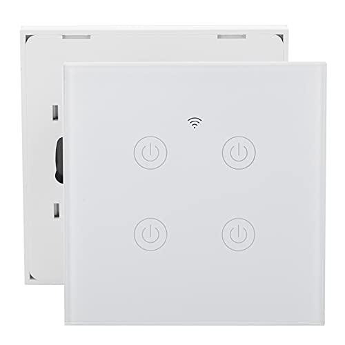 Interruptor de luz inteligente Panel táctil inteligente de alta sensibilidad de 4 vías para cable de fuego único/cero Panel de retroiluminación LED 220-240VAC Blanco(Zigbee)