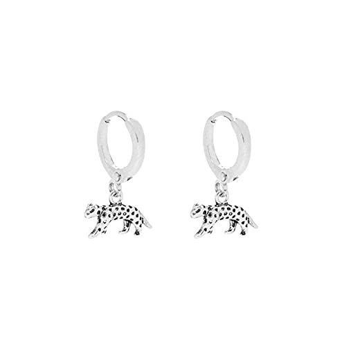 Pendientes de aro de vieira de leopardo de plata de ley 925 a la moda para mujer, Pendientes circulares redondos para Piercing, joyería Pendientes