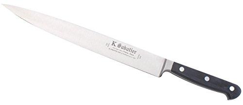 K SABATIER - Tranchelard 26 Cm Gamme Proxus - Acier Inoxydable - Manche Noir - 100% Forge - Entièrement Fabrique en France
