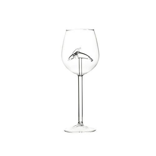 ZJL220 - Copas de vino creativas (300 ml, con delfines), color rojo