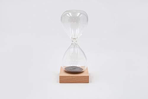 Mascagni - Clessidra magnetica H13 cm, base in legno di faggio rovere sabbia/grigio