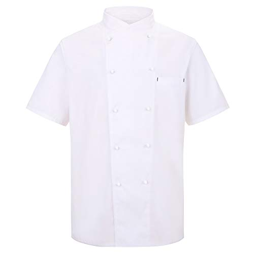 Nanxson Giacca da Chef Manica Corta Giacca da Cuoco Ristorante Divisa da Cuoco per Uomo Donna CFM0048 (Bianco, M)